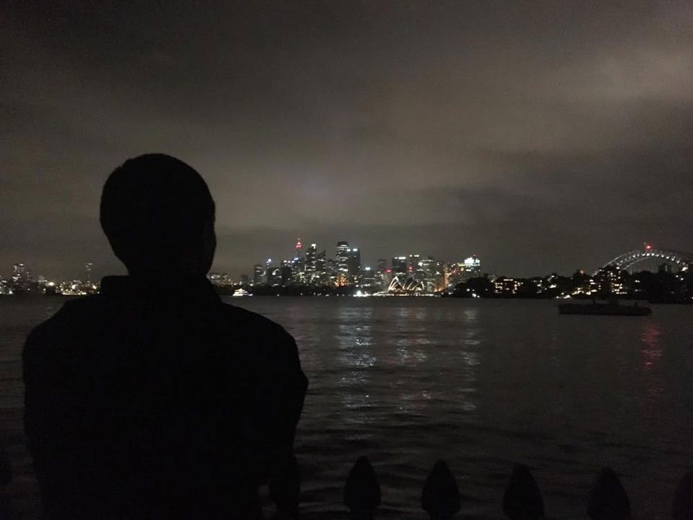 Tim overlooking Sydney skyline.