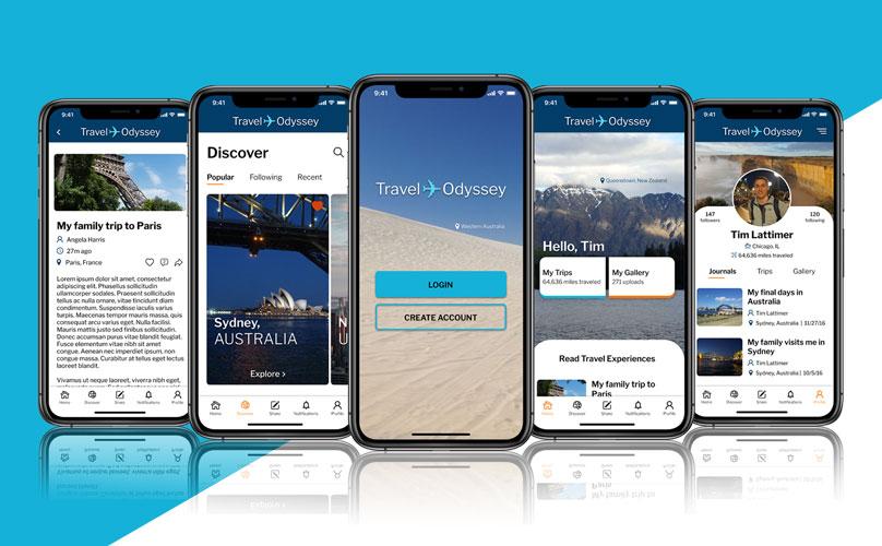 Travel Odyssey App Screens.