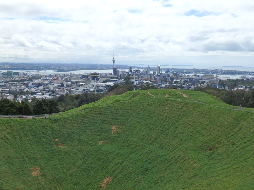 Mount Eden overlooking Auckland, New Zealand.