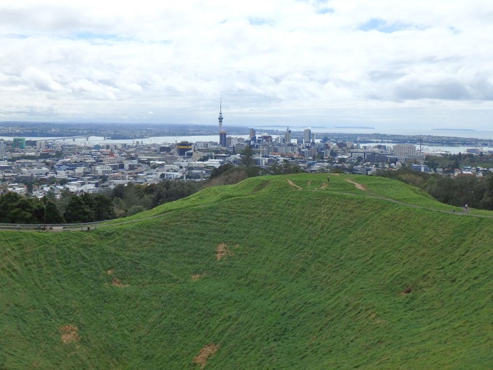 Mount Eden overlooking Auckland, New Zealand.