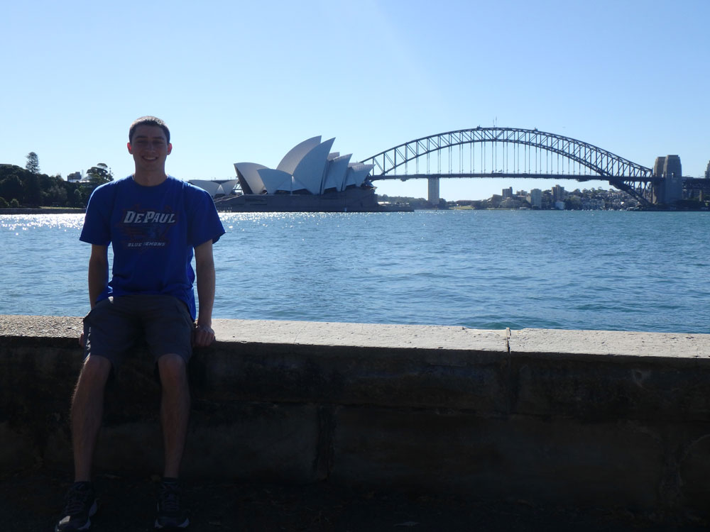 In front of the Opera House and Harbor Bridge.
