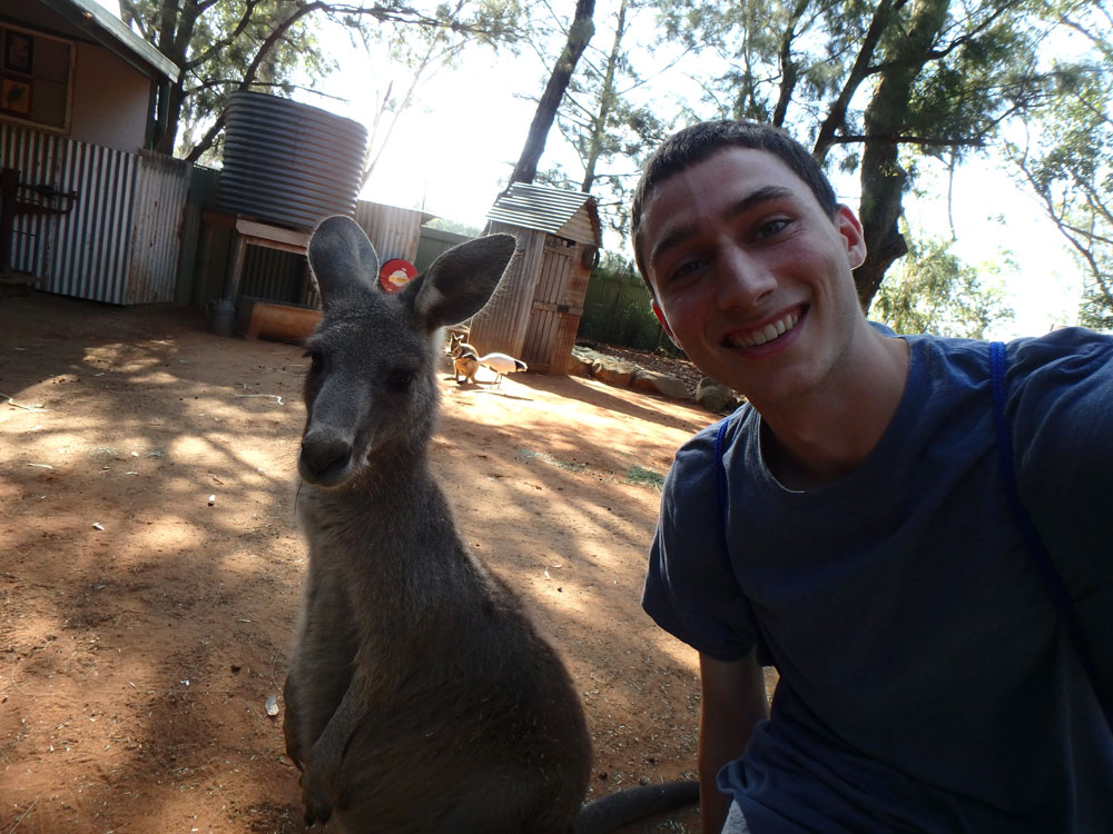 Tim and Kangaroo in Featherdale Wildlife Park.
