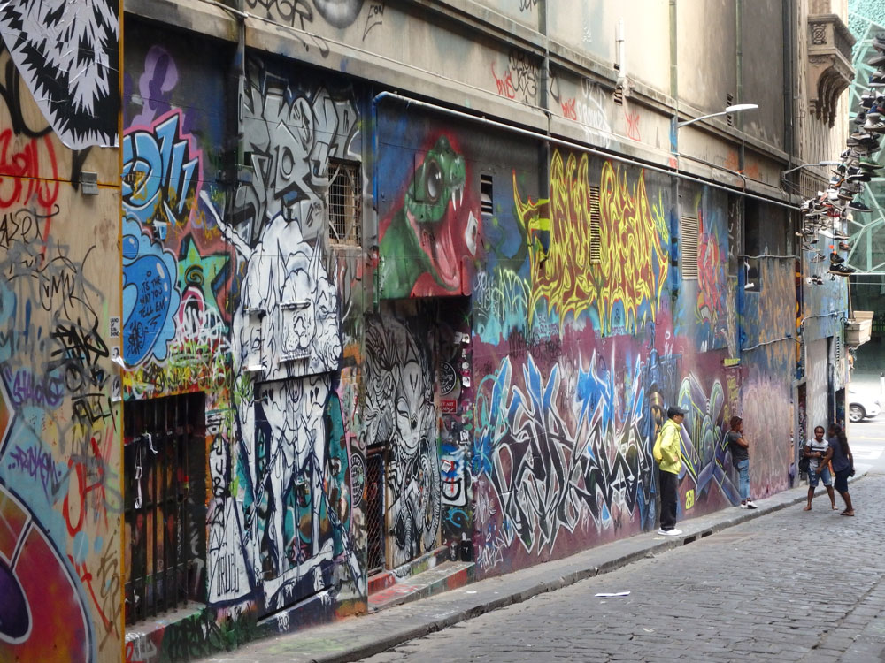 Hosier Lane street art in Melbourne, Australia.
