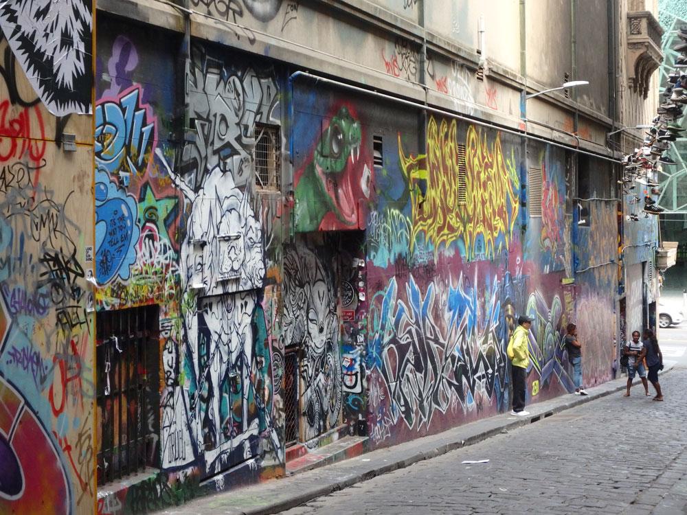 Hosier Lane street art in Melbourne, Australia.