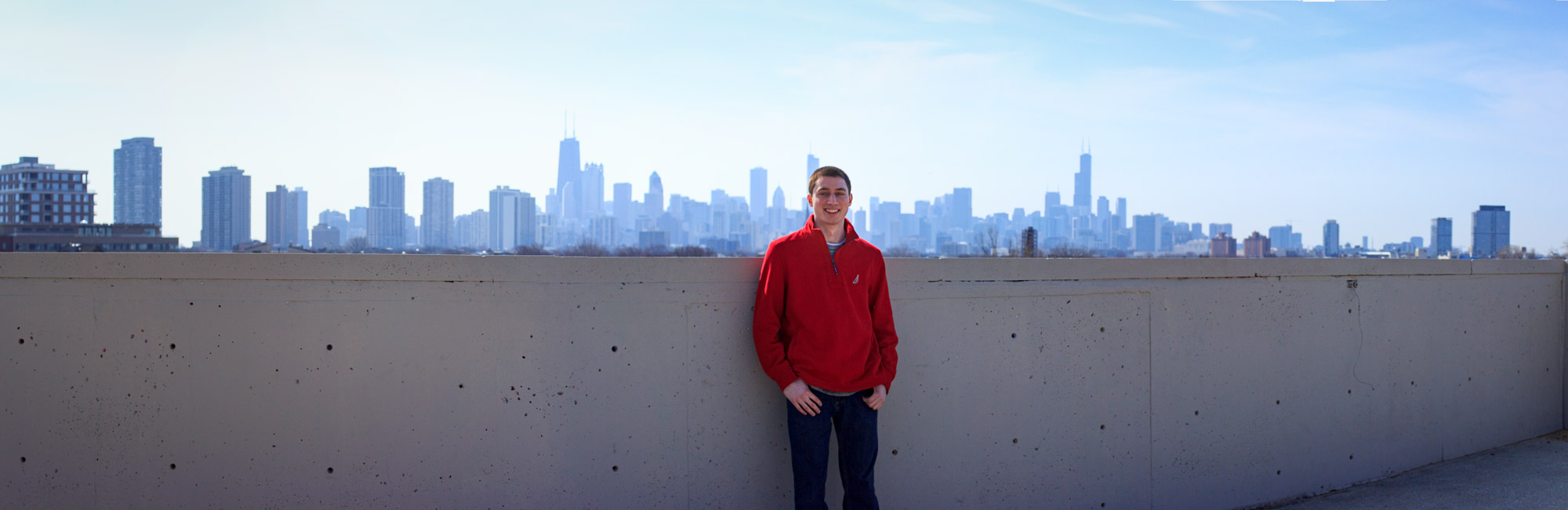 Tim in front of Chicago Skyline.