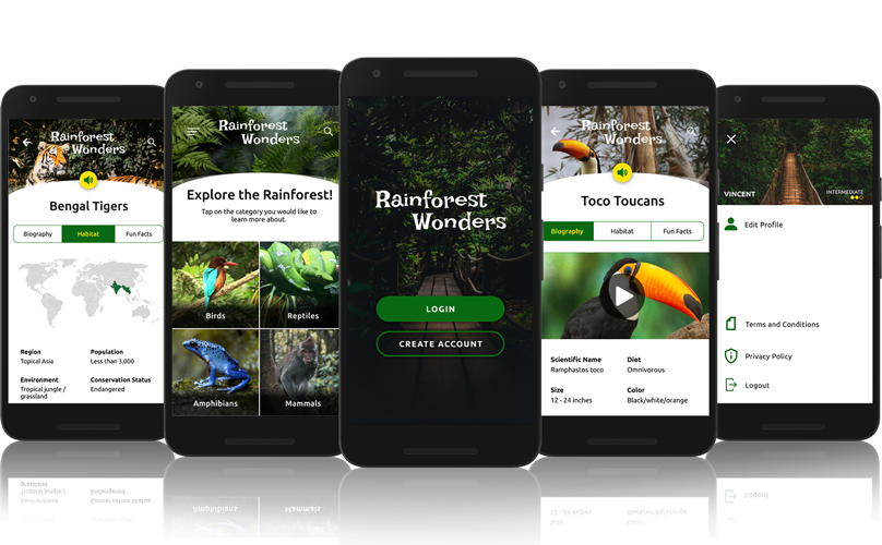Rainforest Wonders App Screens.
