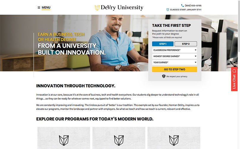 Devry Microsite Desktop Screenshot.